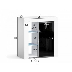 MILA 1D LED skříňka bílá / černá lesk