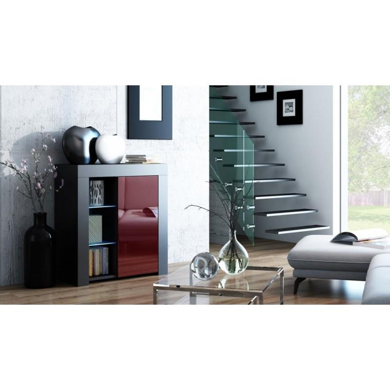 MILA 1D LED skříňka černá / burgund lesk