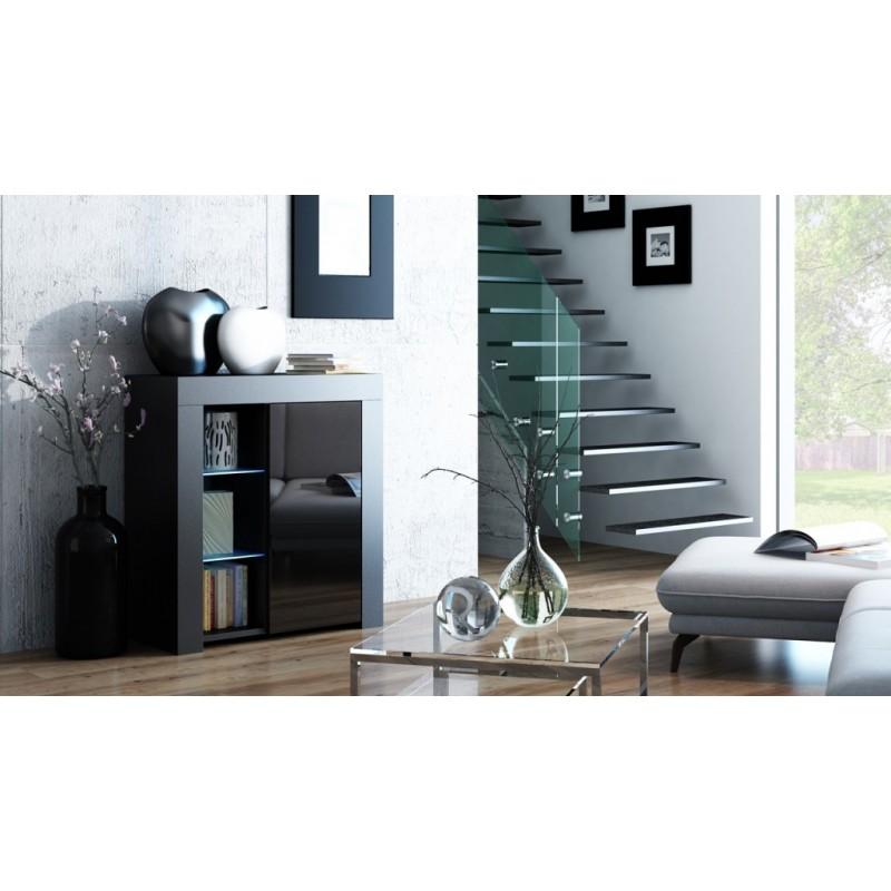 MILA 1D LED skříňka černá / černá lesk